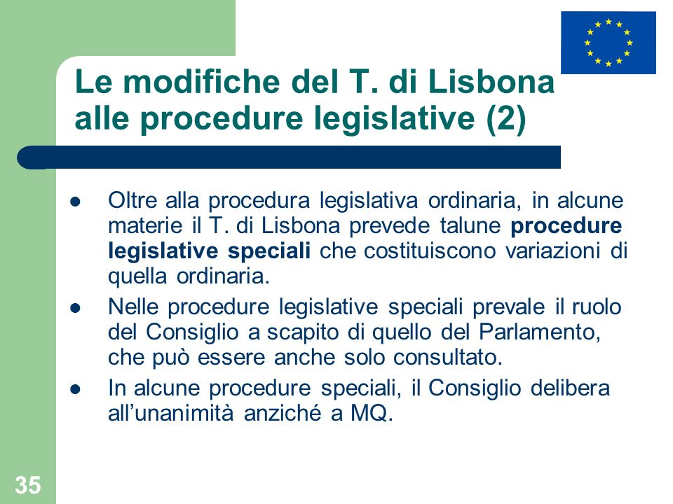 Le modifiche del T. di Lisbona alle procedure legislative (2)