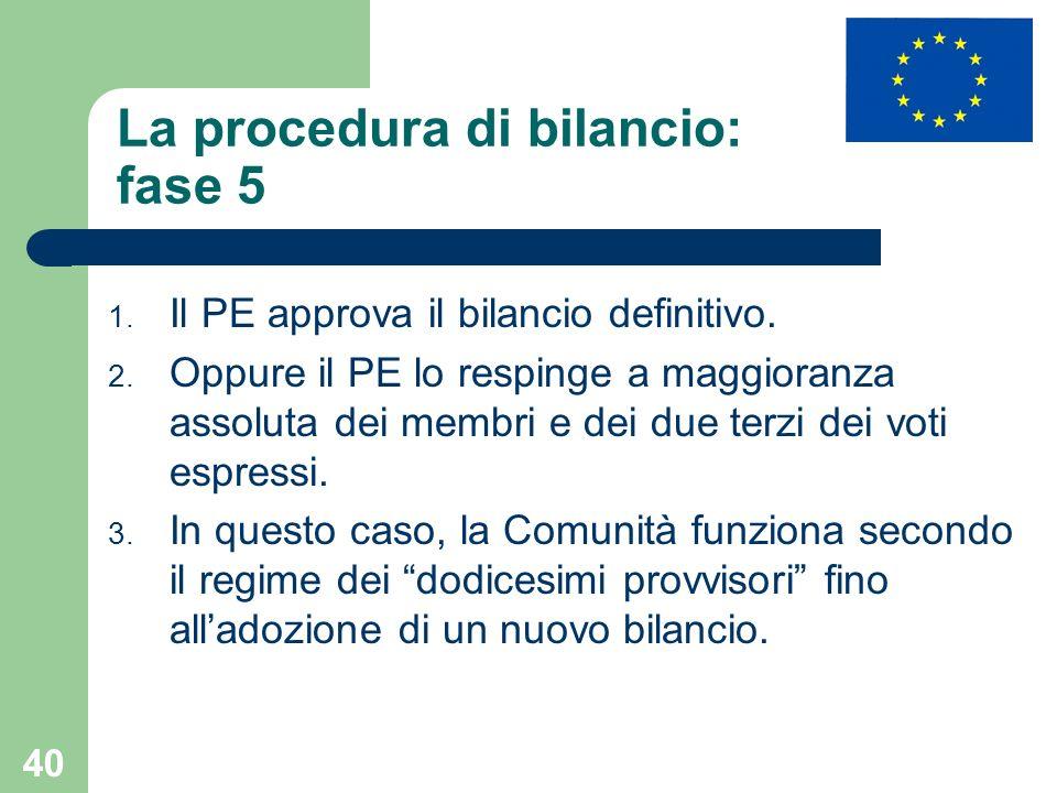 La procedura di bilancio: fase 5