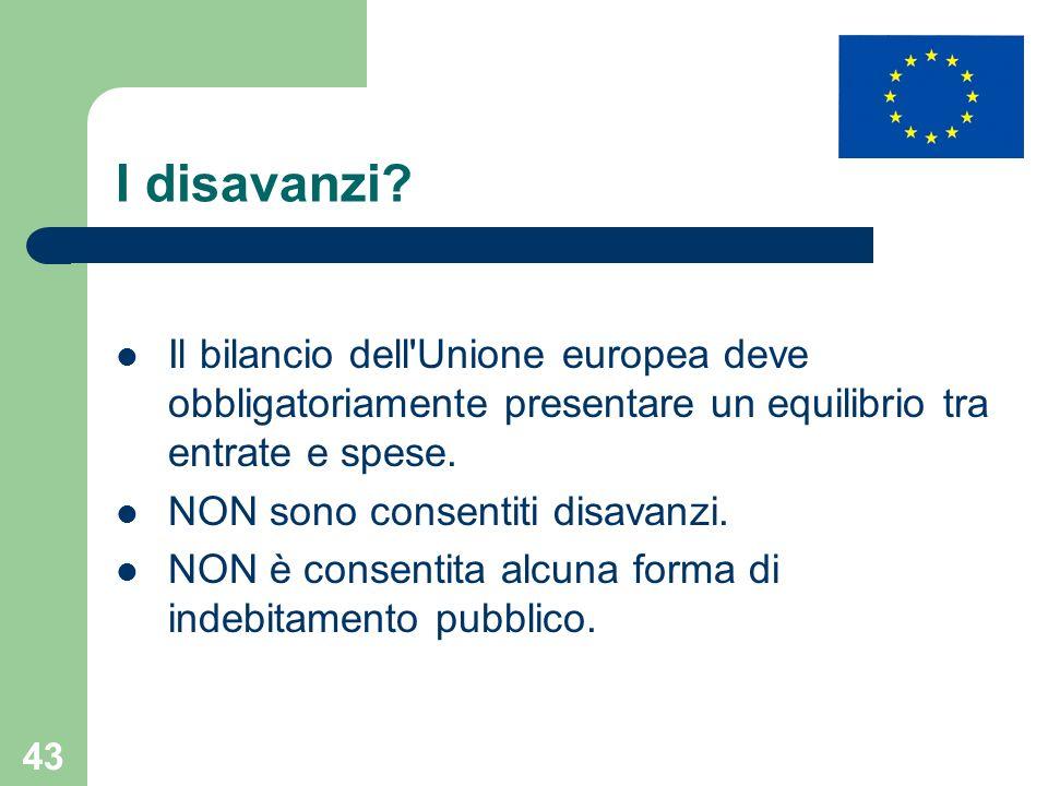 I disavanzi Il bilancio dell Unione europea deve obbligatoriamente presentare un equilibrio tra entrate e spese.