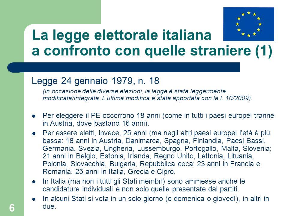 La legge elettorale italiana a confronto con quelle straniere (1)