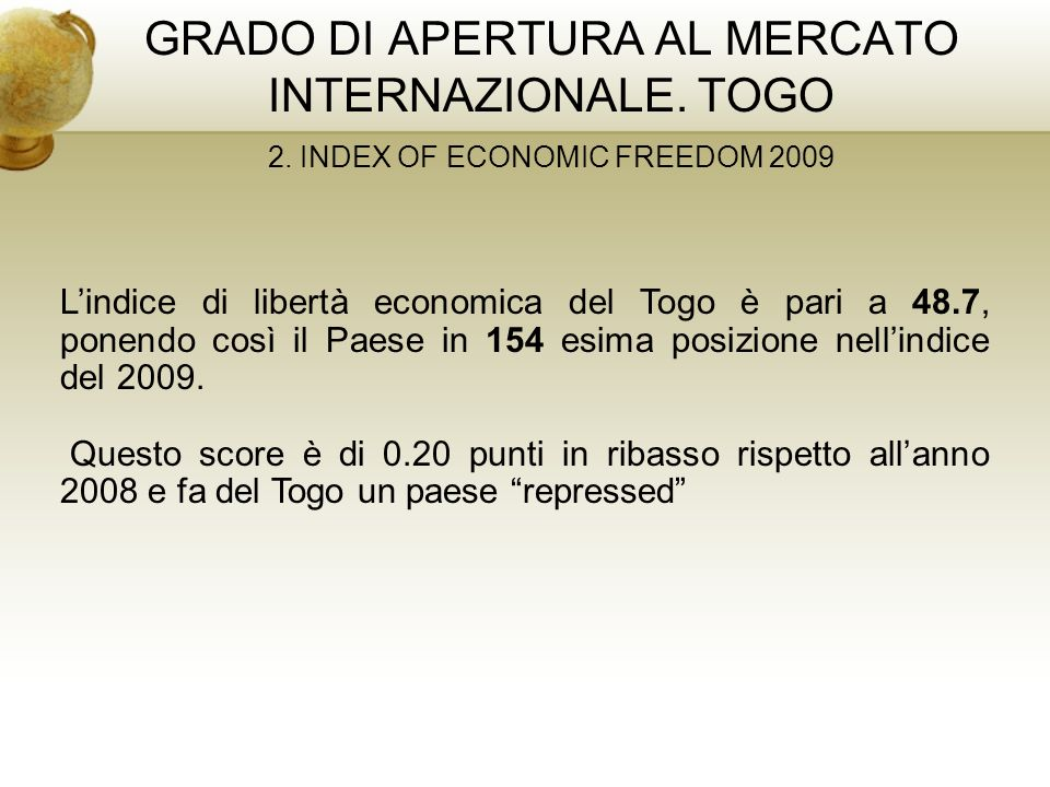 GRADO DI APERTURA AL MERCATO INTERNAZIONALE. TOGO 2