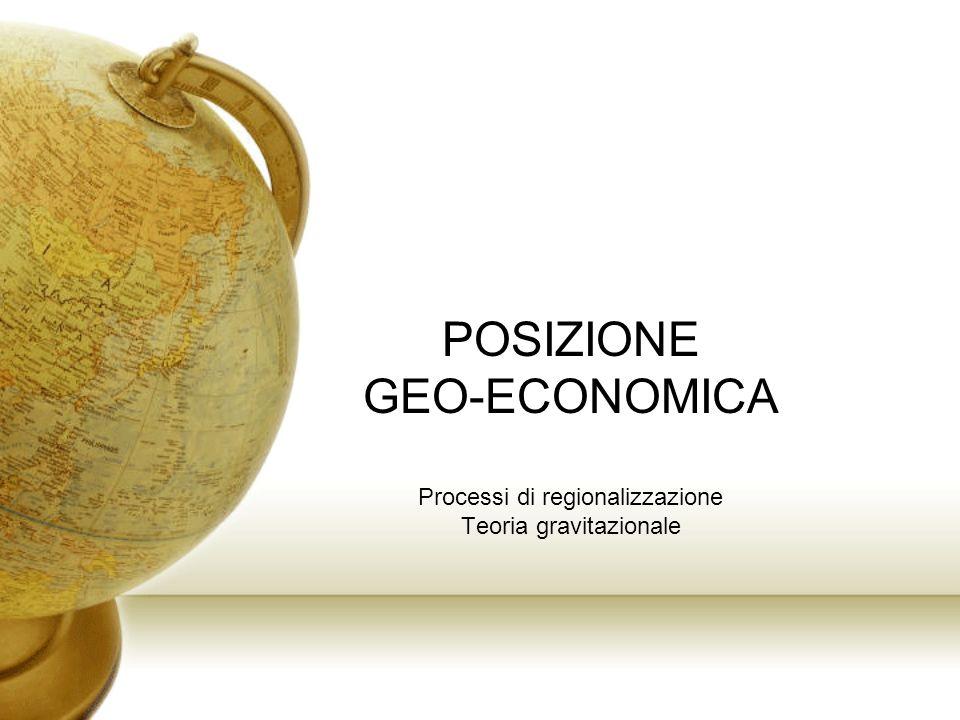 POSIZIONE GEO-ECONOMICA Processi di regionalizzazione Teoria gravitazionale