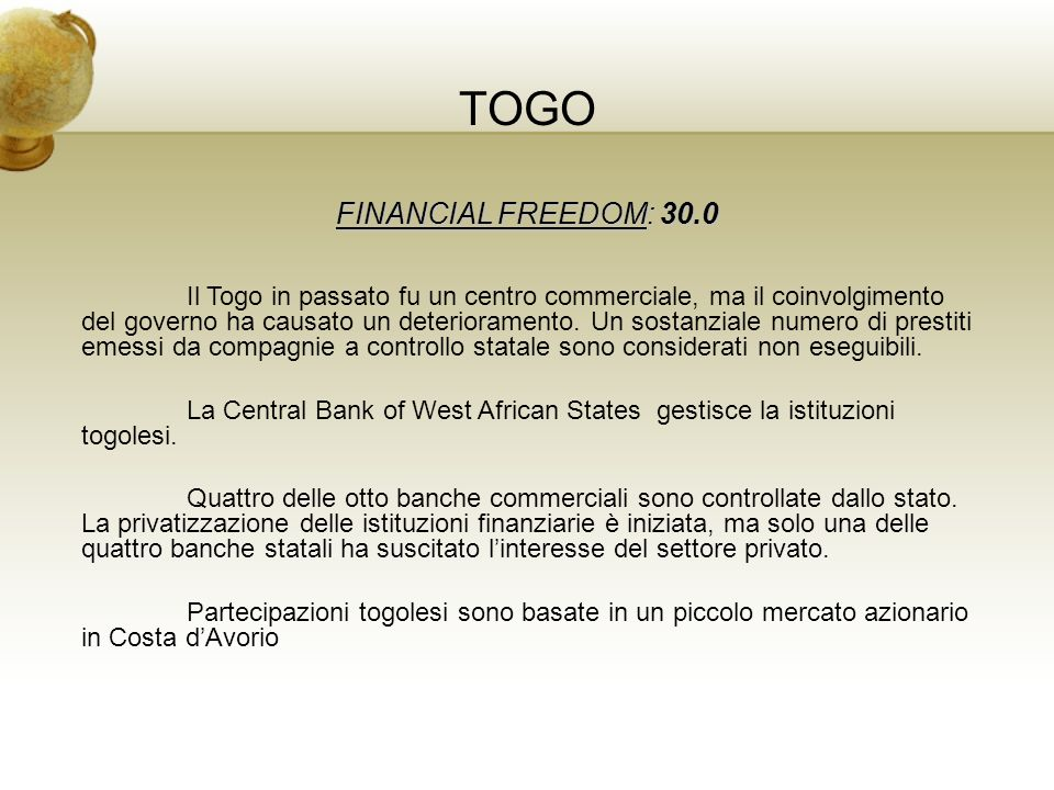 TOGO FINANCIAL FREEDOM: 30.0
