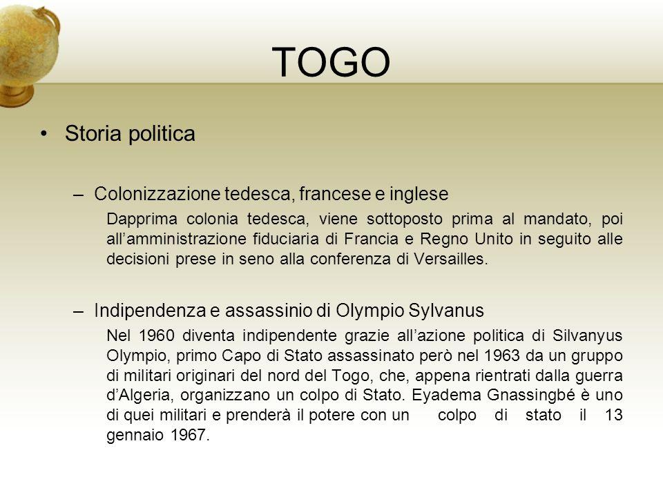 TOGO Storia politica Colonizzazione tedesca, francese e inglese