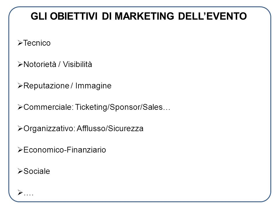 GLI OBIETTIVI DI MARKETING DELL'EVENTO