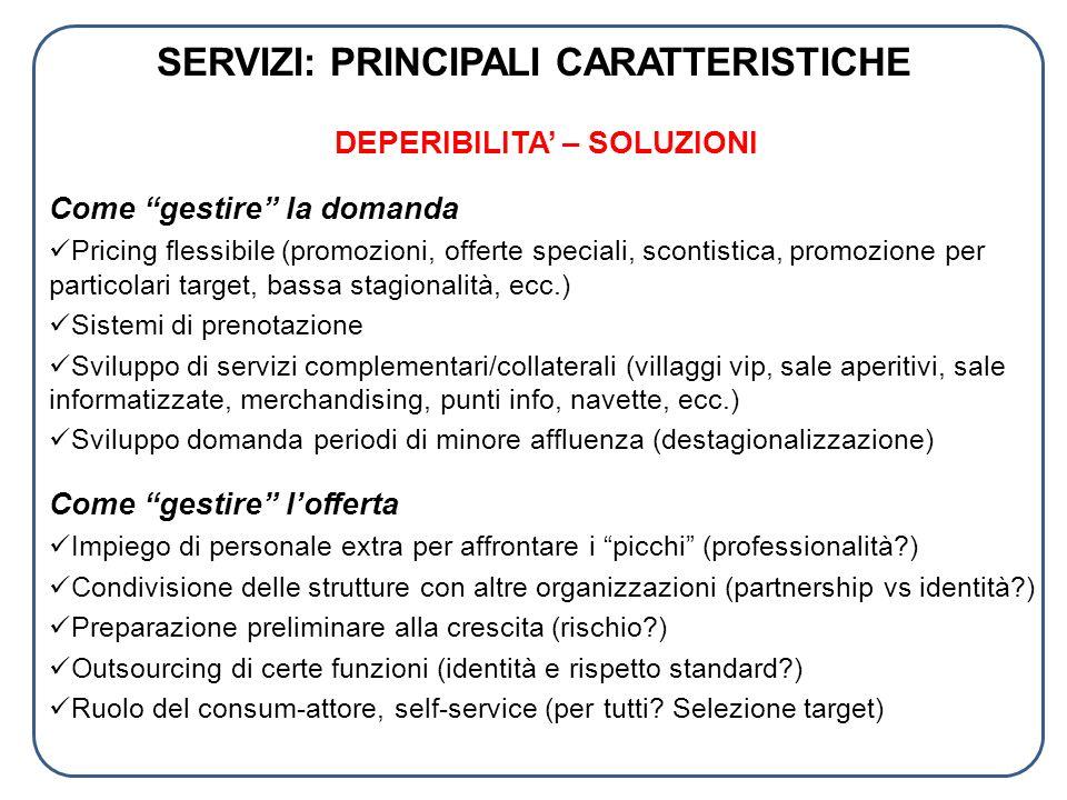 SERVIZI: PRINCIPALI CARATTERISTICHE