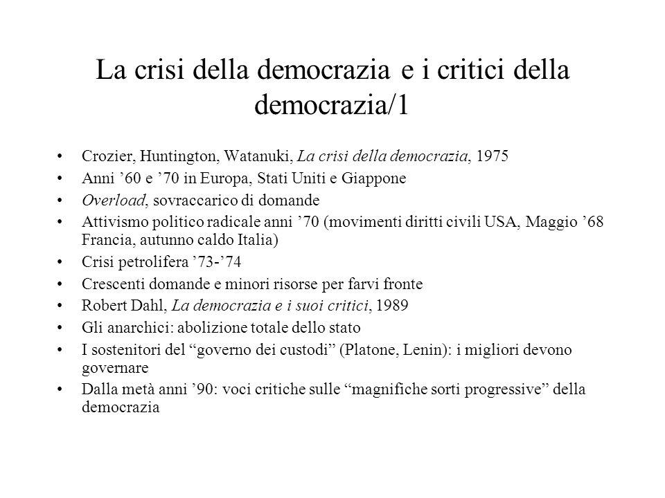 La crisi della democrazia e i critici della democrazia/1