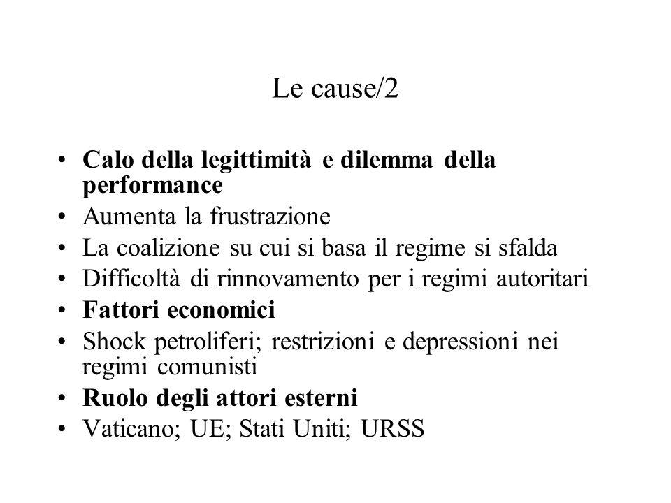 Le cause/2 Calo della legittimità e dilemma della performance