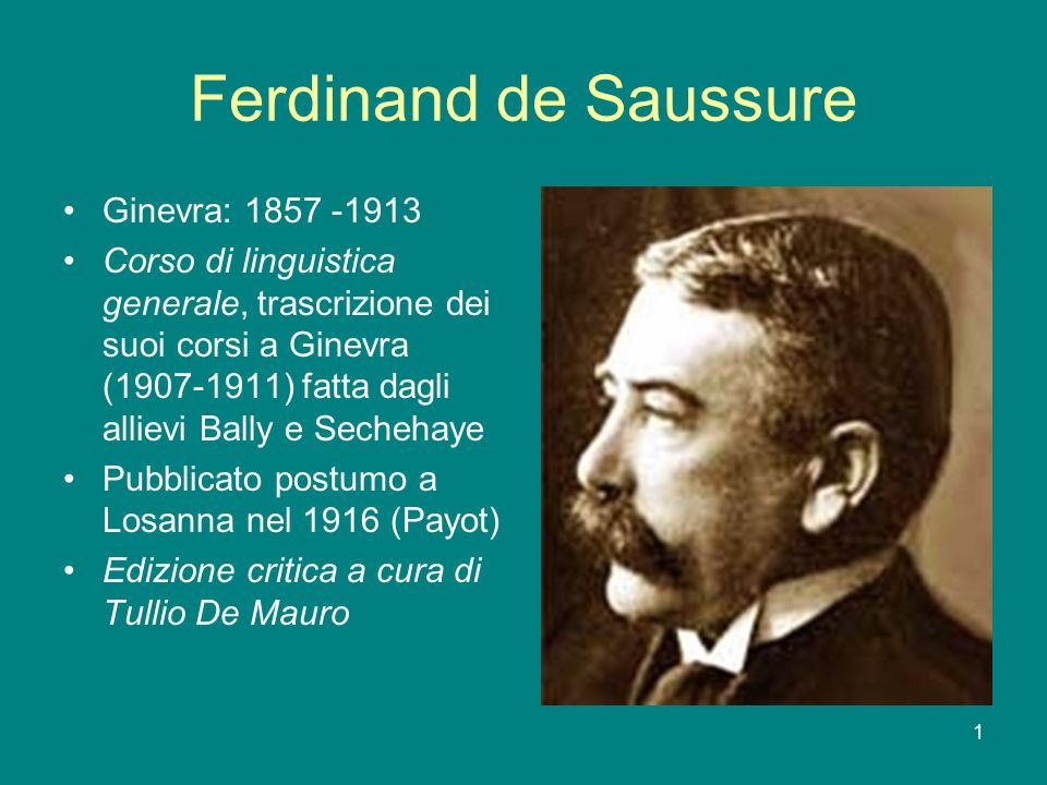 Ferdinand de Saussure Ginevra: 1857 -1913