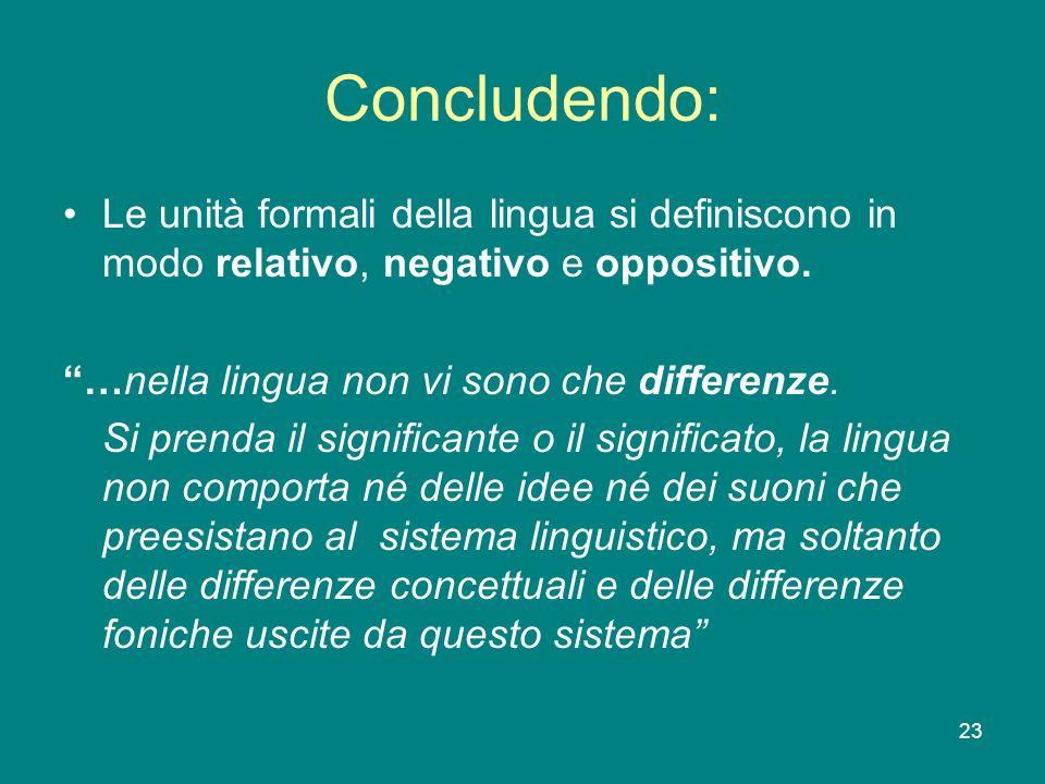Concludendo: Le unità formali della lingua si definiscono in modo relativo, negativo e oppositivo. …nella lingua non vi sono che differenze.
