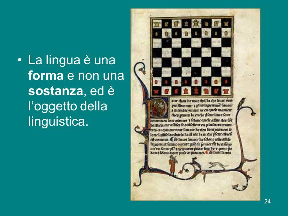 La lingua è una forma e non una sostanza, ed è l'oggetto della linguistica.