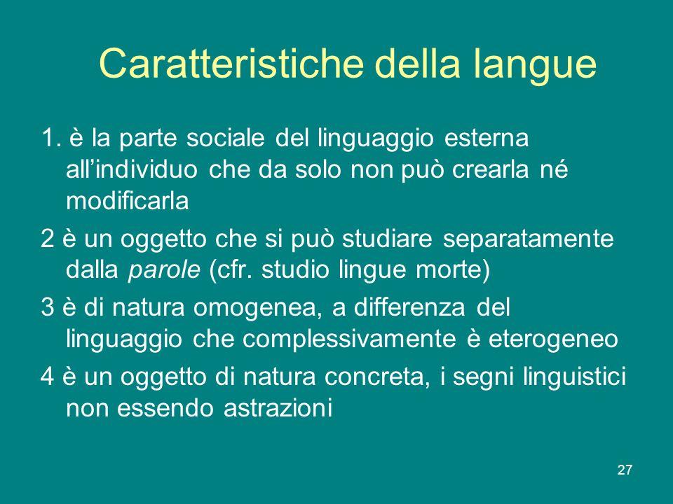 Caratteristiche della langue