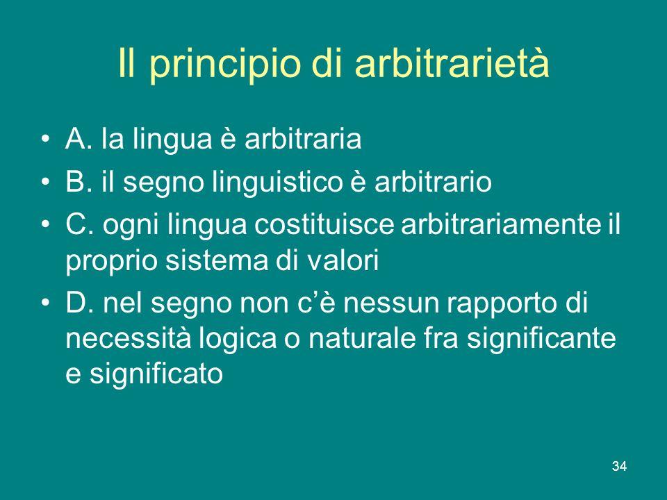 Il principio di arbitrarietà