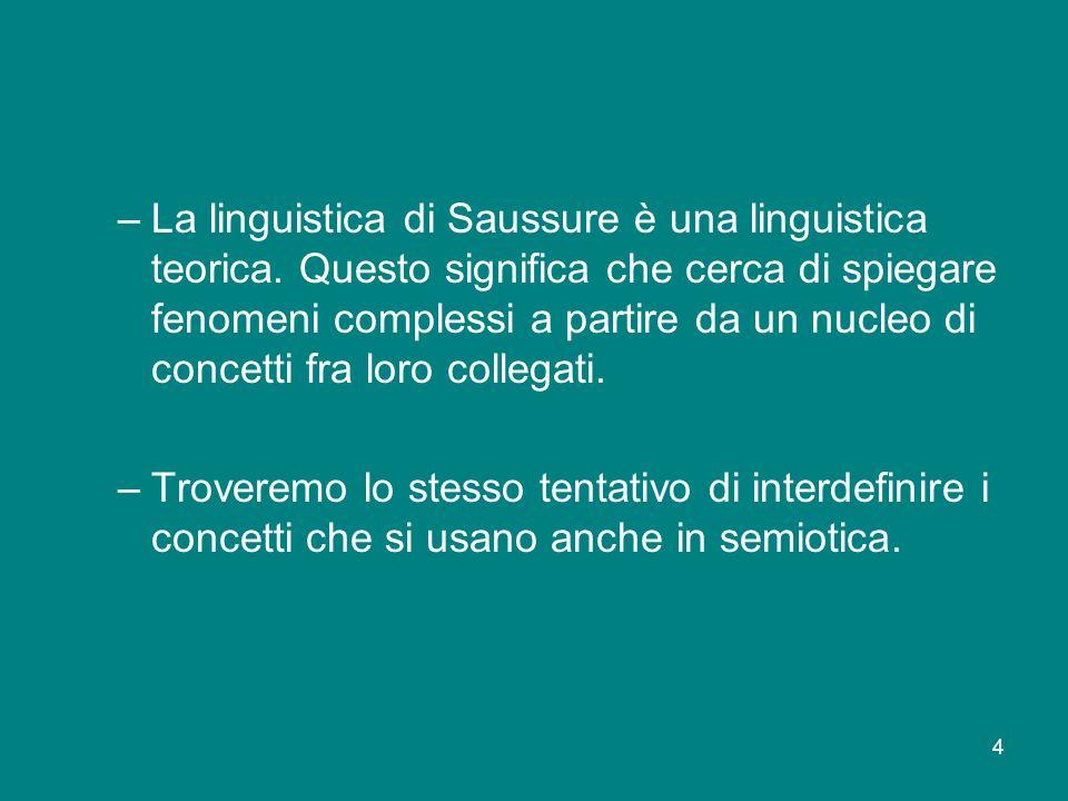 La linguistica di Saussure è una linguistica teorica