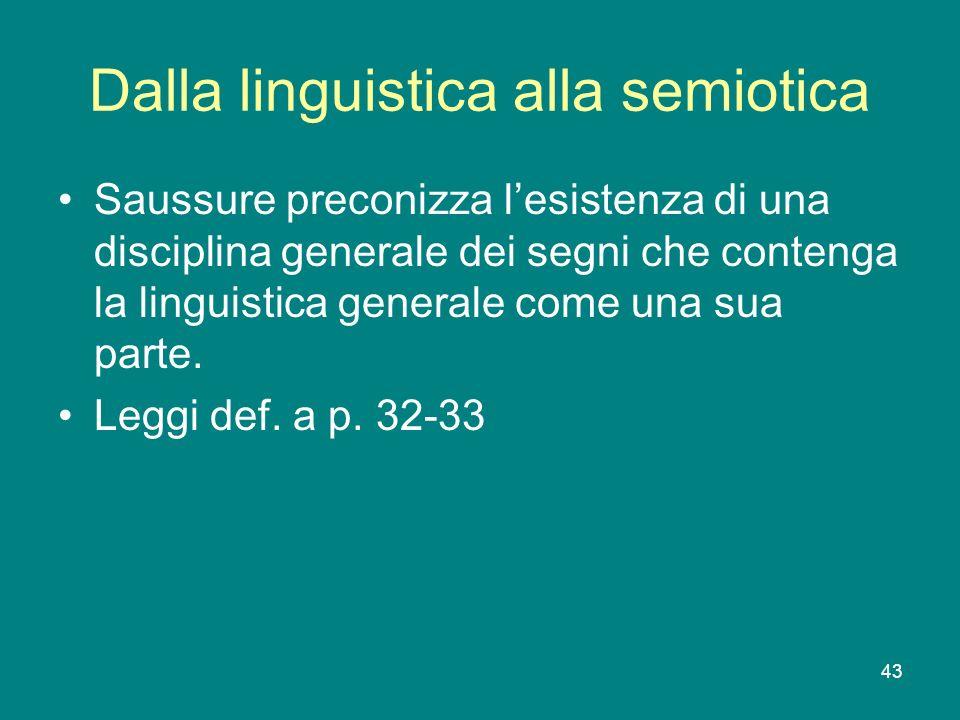 Dalla linguistica alla semiotica