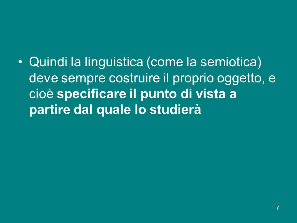 Quindi la linguistica (come la semiotica) deve sempre costruire il proprio oggetto, e cioè specificare il punto di vista a partire dal quale lo studierà