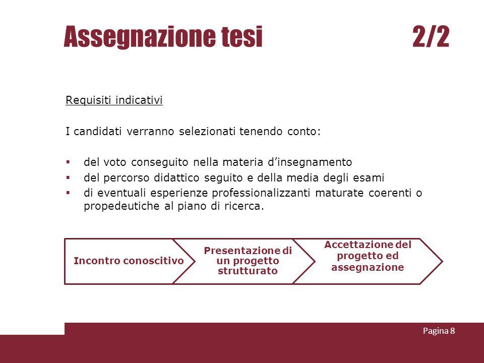 Assegnazione tesi 2/2 Requisiti indicativi