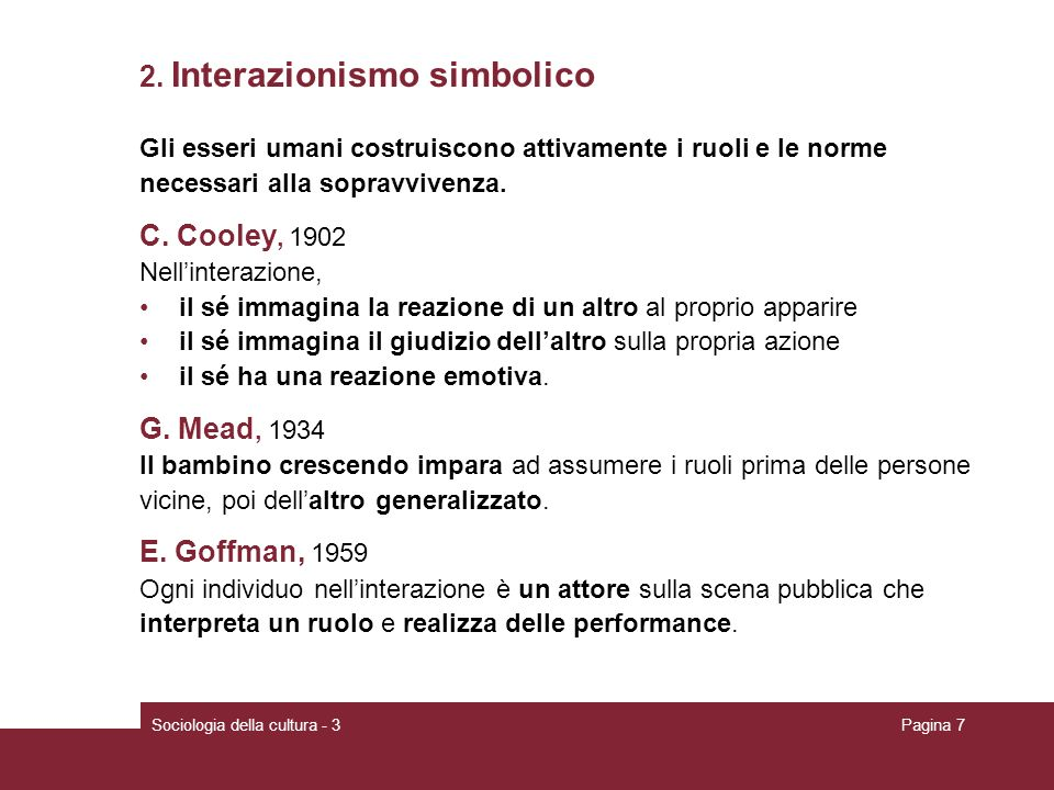 2. Interazionismo simbolico
