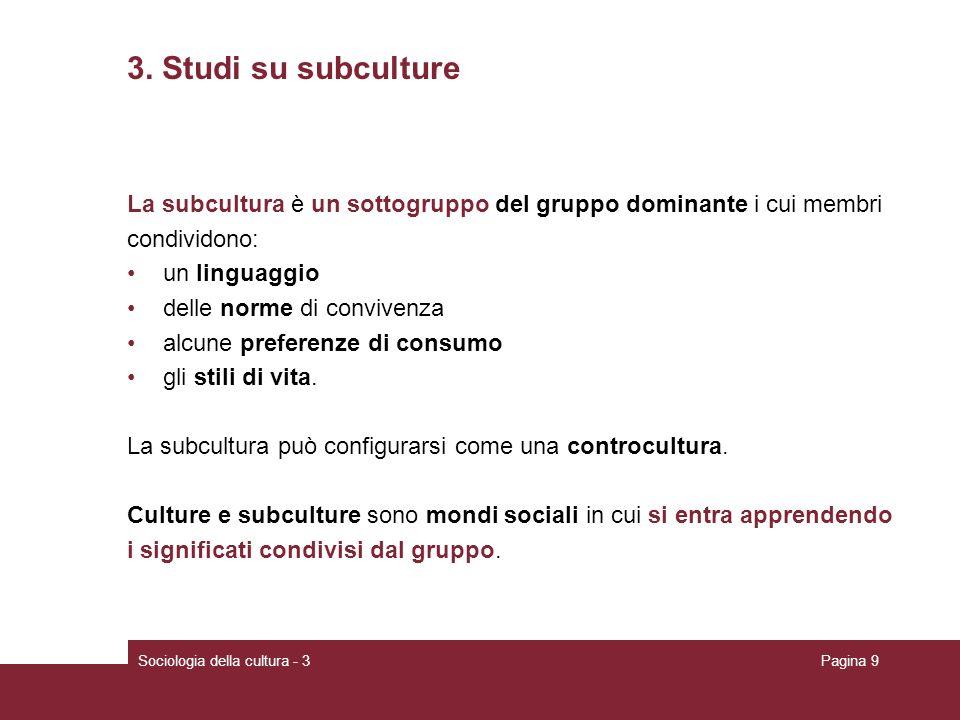 3. Studi su subculture La subcultura è un sottogruppo del gruppo dominante i cui membri. condividono: