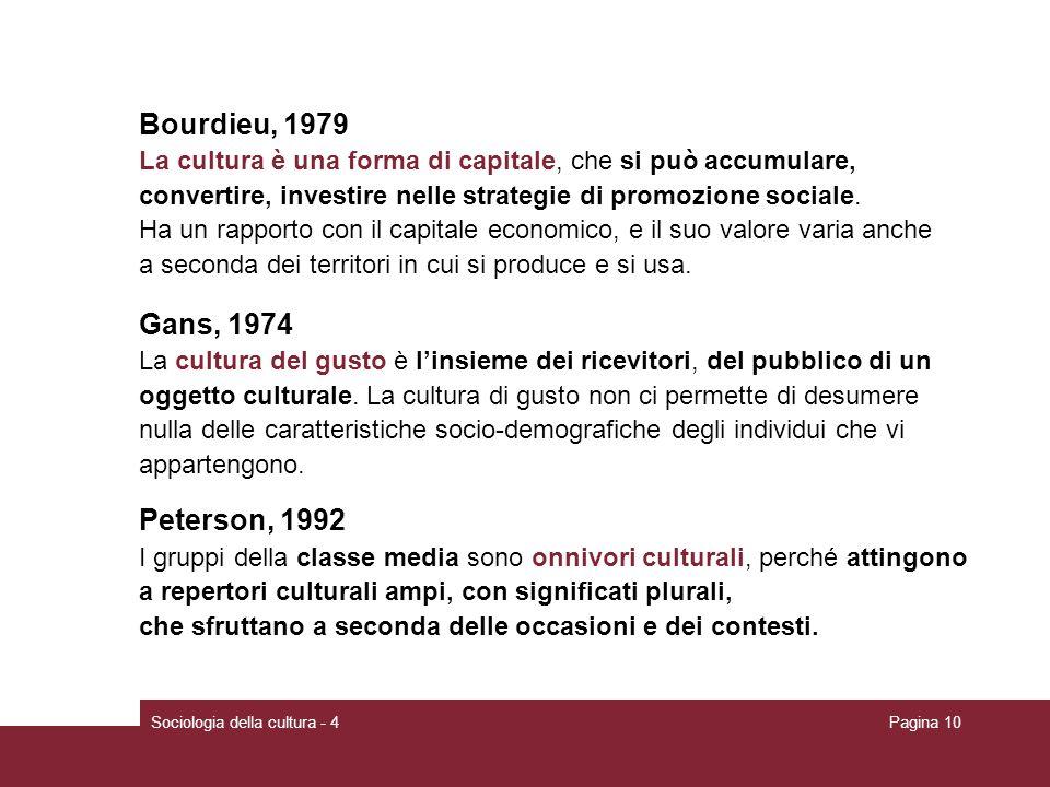 Bourdieu, 1979 Gans, 1974 Peterson, 1992