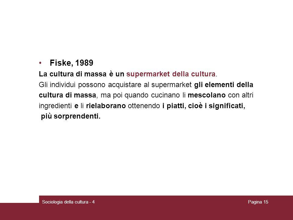 Fiske, 1989 La cultura di massa è un supermarket della cultura.