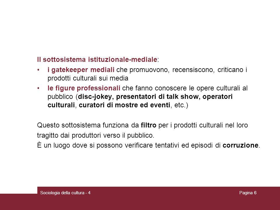 Il sottosistema istituzionale-mediale: