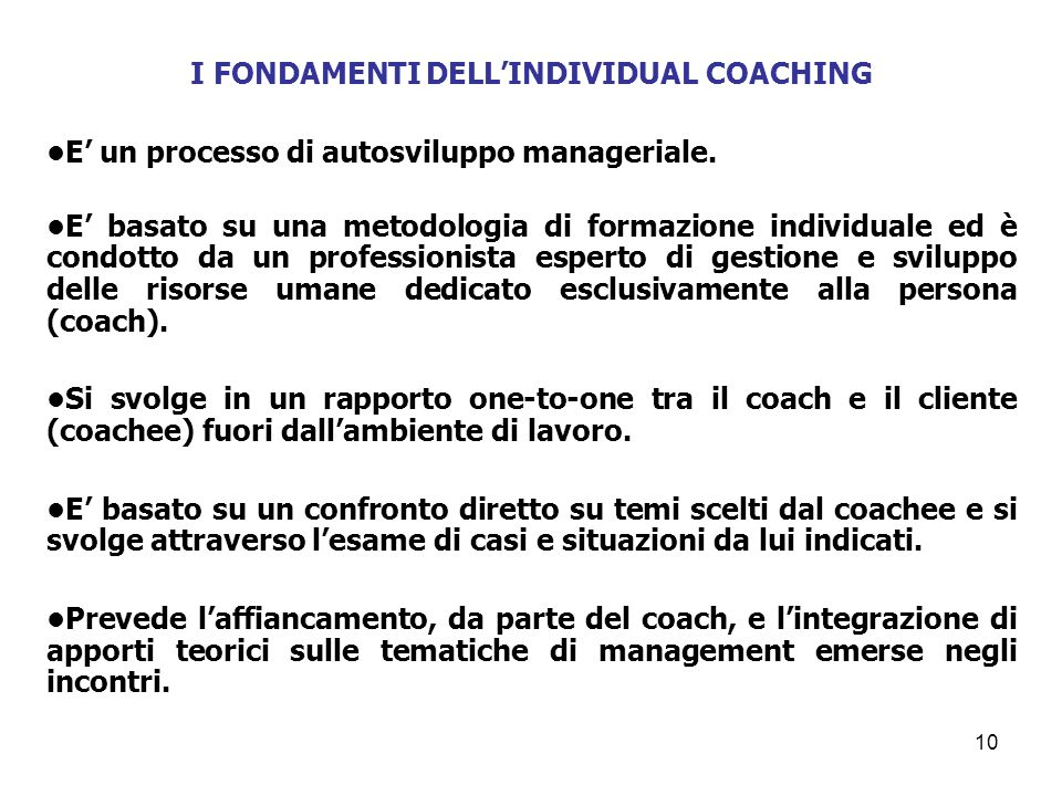 I FONDAMENTI DELL'INDIVIDUAL COACHING