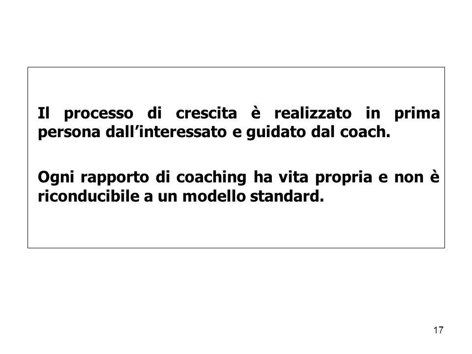 Il processo di crescita è realizzato in prima persona dall'interessato e guidato dal coach.