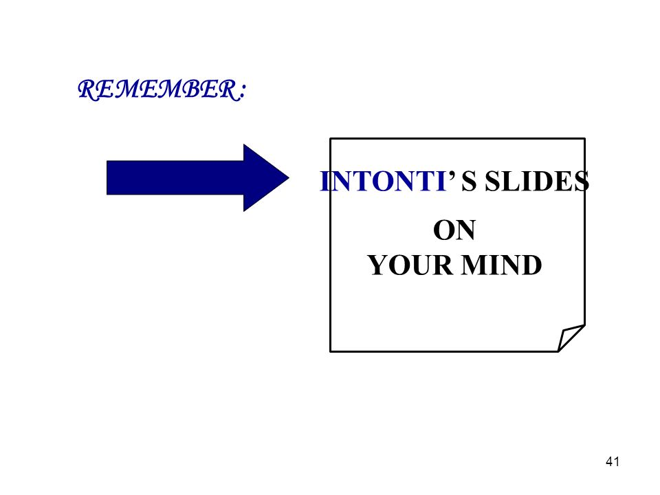 REMEMBER : INTONTI' S SLIDES ON YOUR MIND