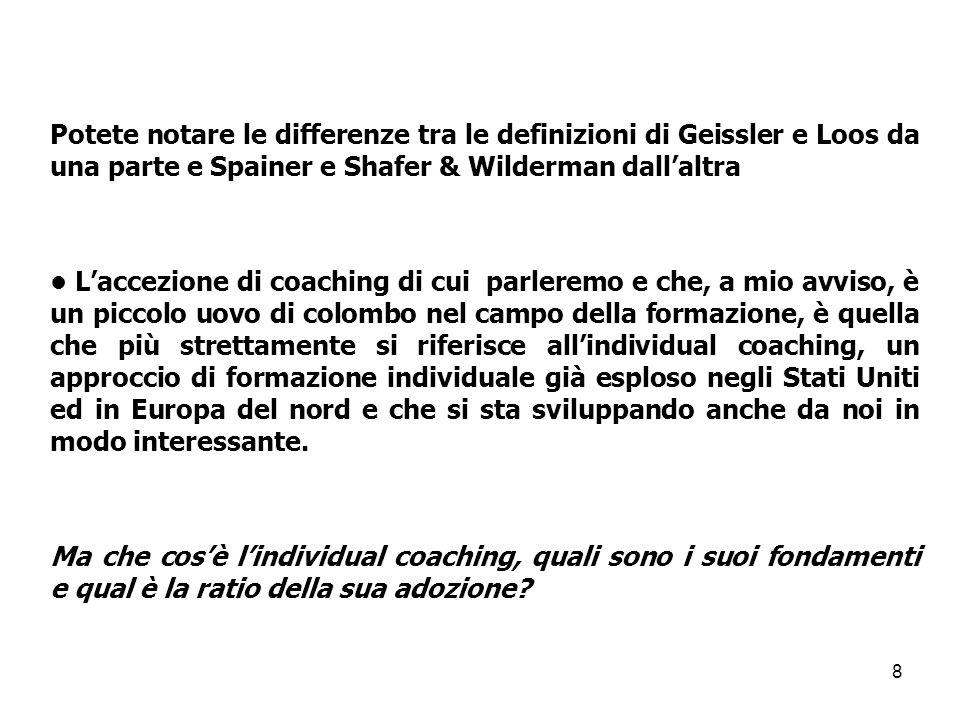 Potete notare le differenze tra le definizioni di Geissler e Loos da una parte e Spainer e Shafer & Wilderman dall'altra