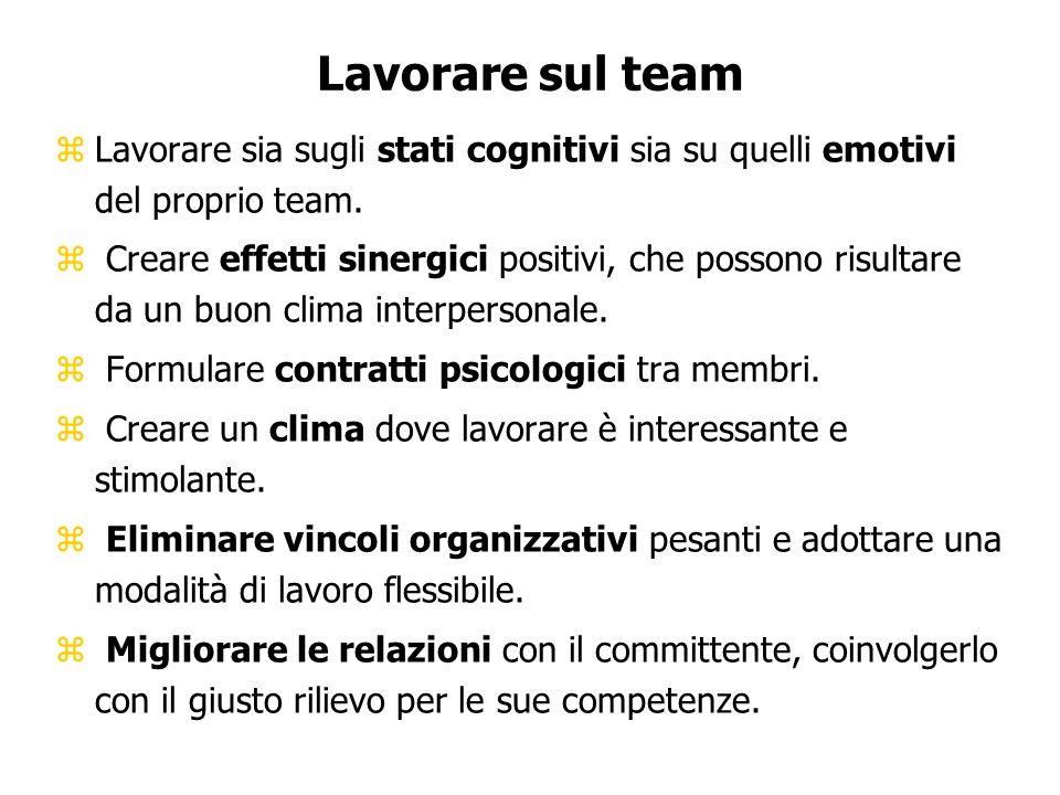 Lavorare sul team Lavorare sia sugli stati cognitivi sia su quelli emotivi del proprio team.
