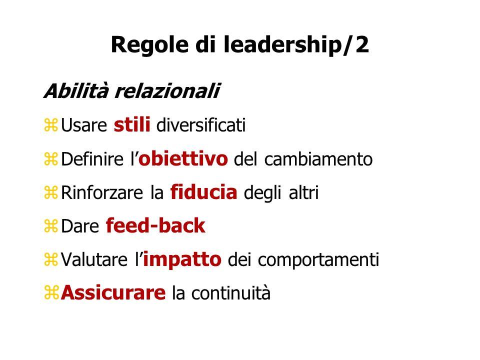 Regole di leadership/2 Abilità relazionali Assicurare la continuità