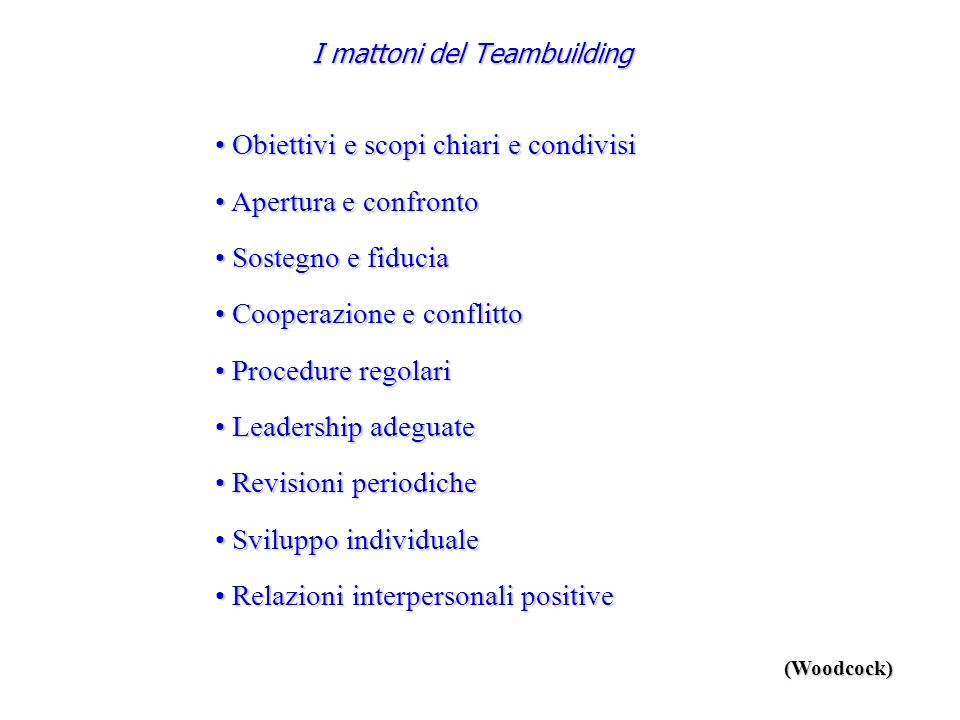 I mattoni del Teambuilding
