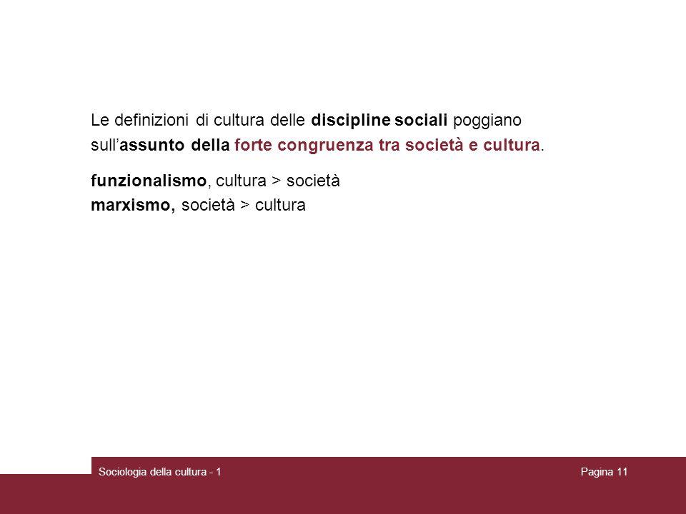 Le definizioni di cultura delle discipline sociali poggiano