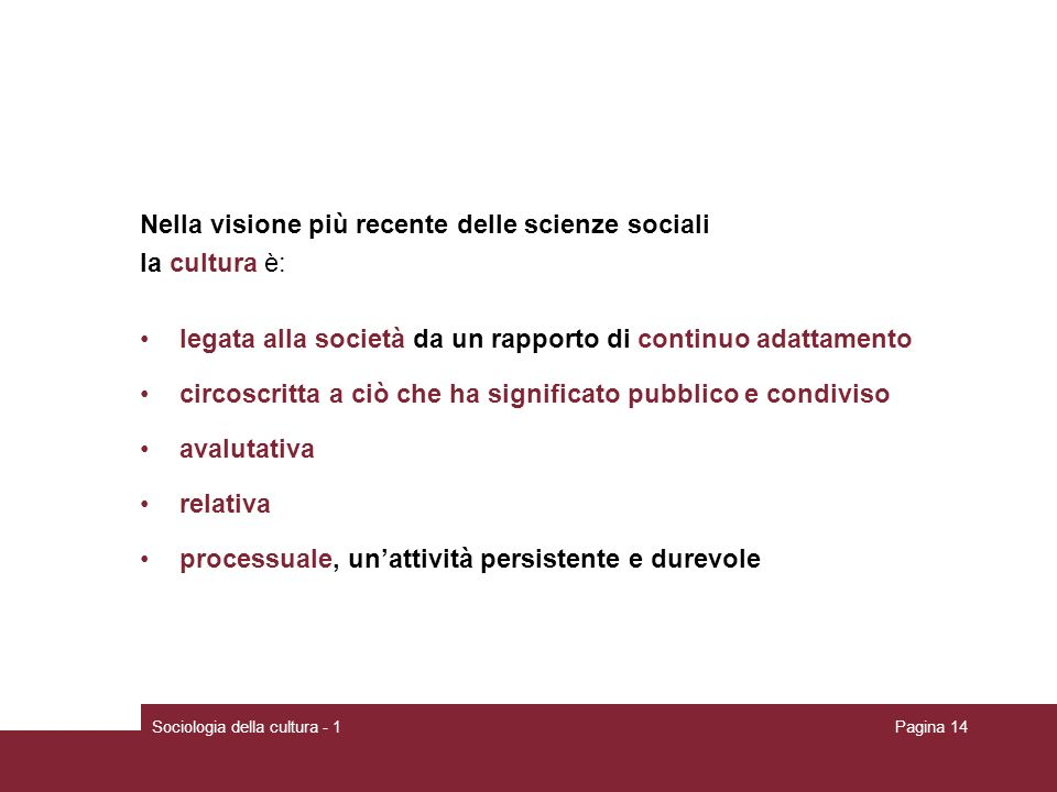 Nella visione più recente delle scienze sociali la cultura è: