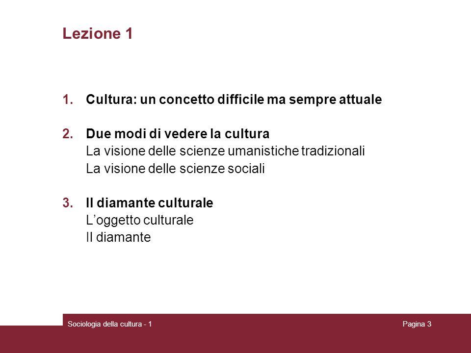 Lezione 1 Cultura: un concetto difficile ma sempre attuale