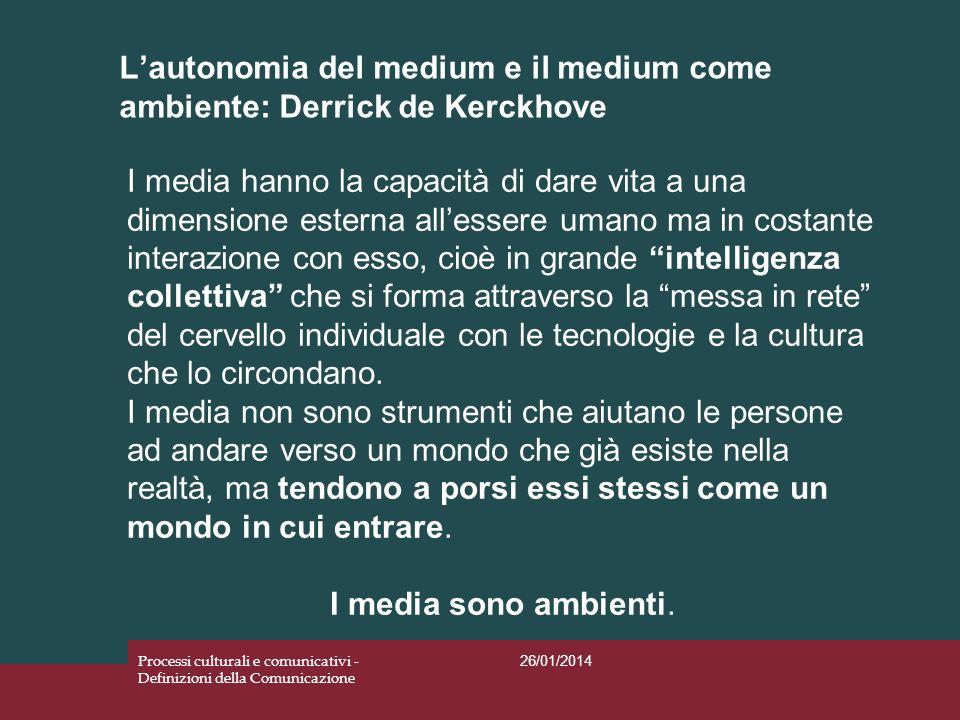 L'autonomia del medium e il medium come ambiente: Derrick de Kerckhove