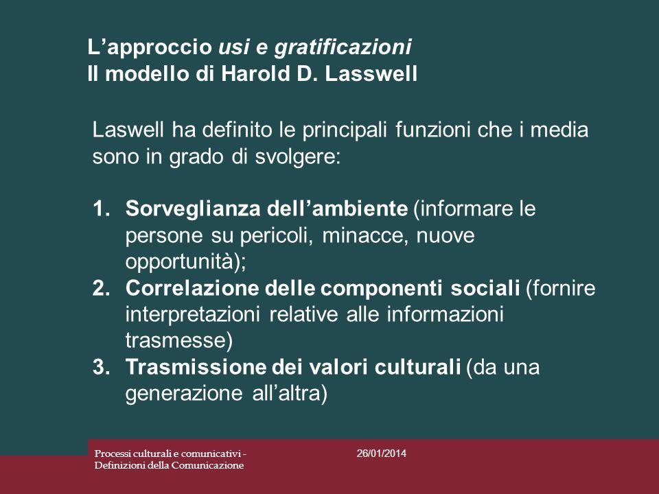 L'approccio usi e gratificazioni Il modello di Harold D. Lasswell