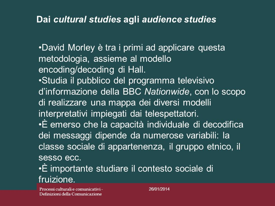 Dai cultural studies agli audience studies