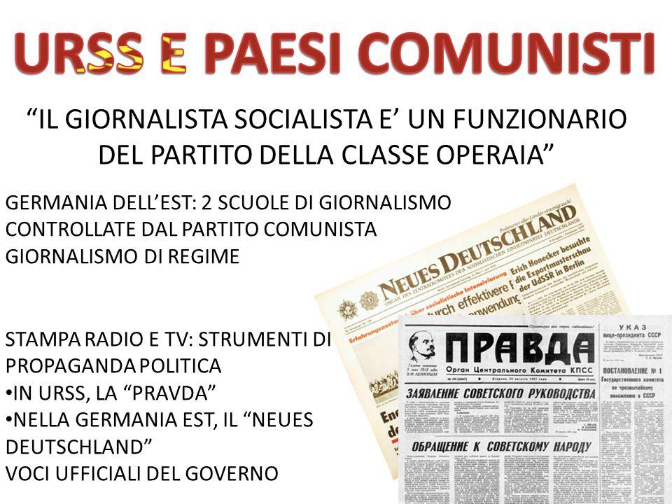 URSS E PAESI COMUNISTI IL GIORNALISTA SOCIALISTA E' UN FUNZIONARIO DEL PARTITO DELLA CLASSE OPERAIA