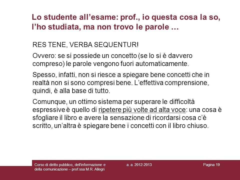 Lo studente all'esame: prof