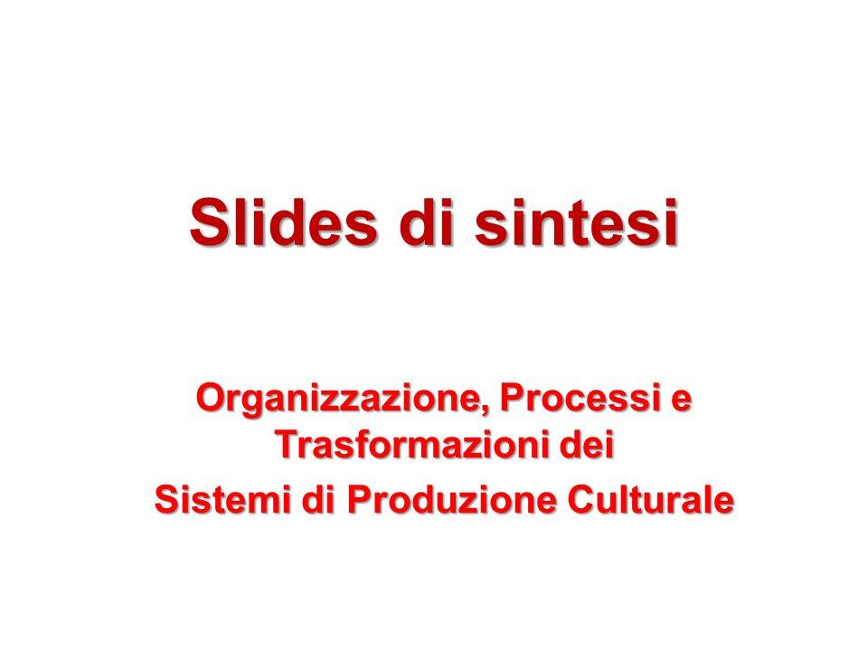Slides di sintesi Organizzazione, Processi e Trasformazioni dei