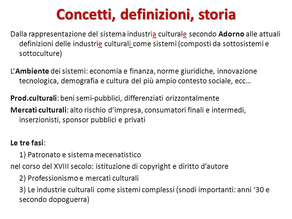Concetti, definizioni, storia