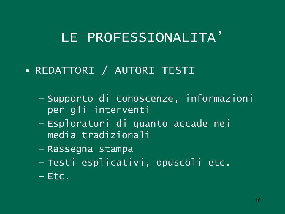 LE PROFESSIONALITA' REDATTORI / AUTORI TESTI