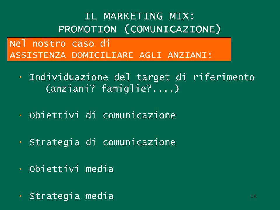 IL MARKETING MIX: PROMOTION (COMUNICAZIONE)