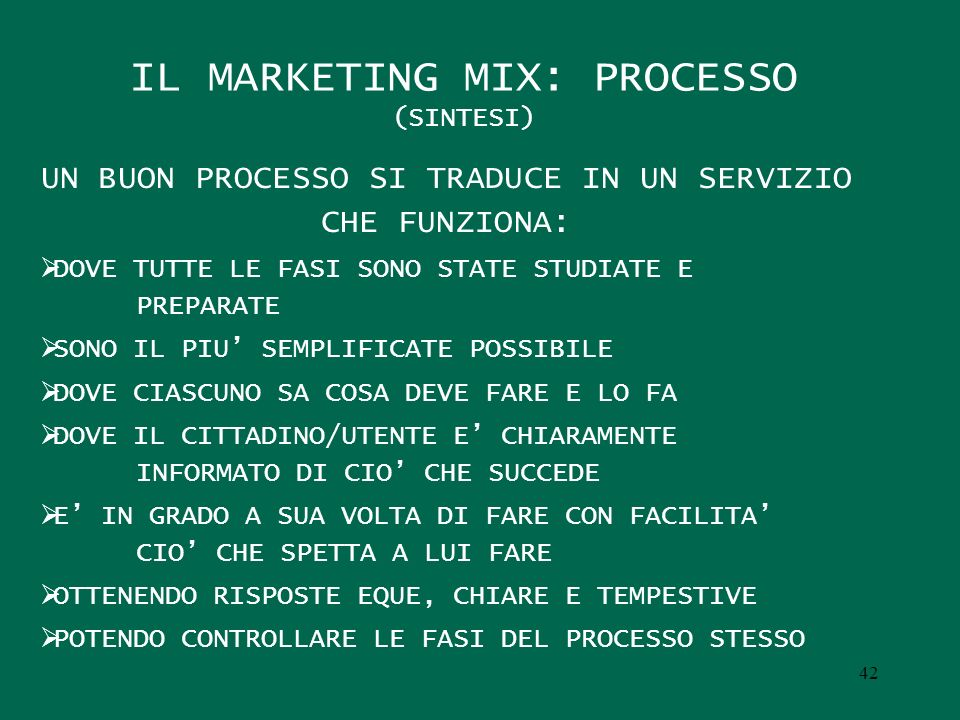 IL MARKETING MIX: PROCESSO (SINTESI)
