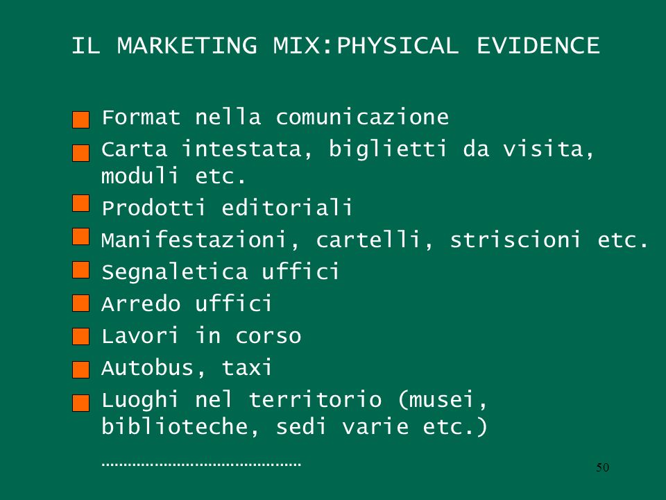 IL MARKETING MIX:PHYSICAL EVIDENCE