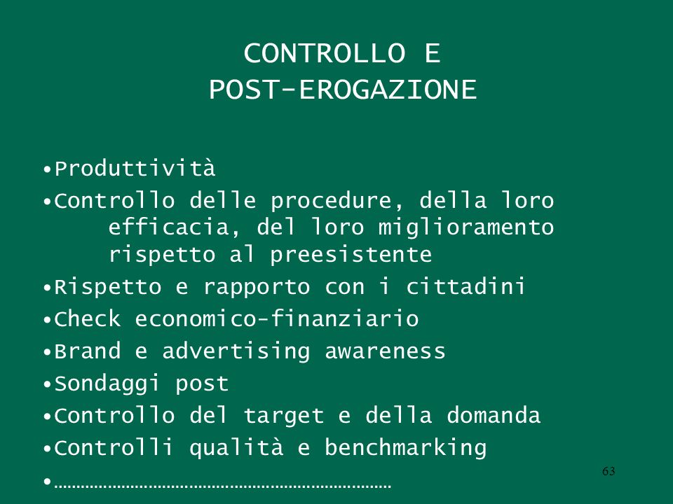 CONTROLLO E POST-EROGAZIONE