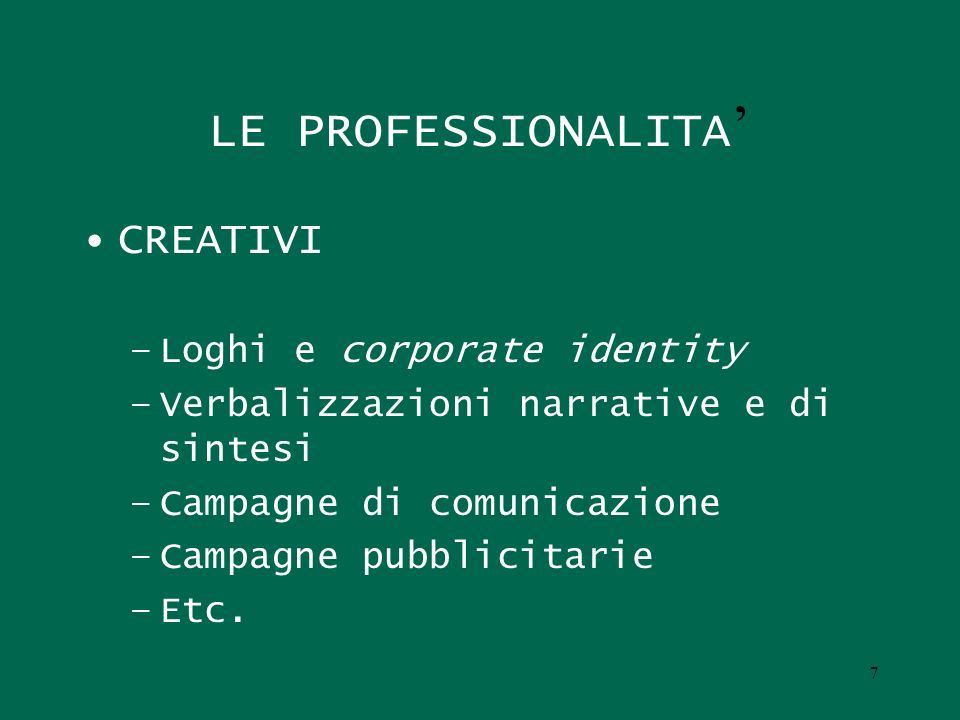 LE PROFESSIONALITA' CREATIVI Loghi e corporate identity