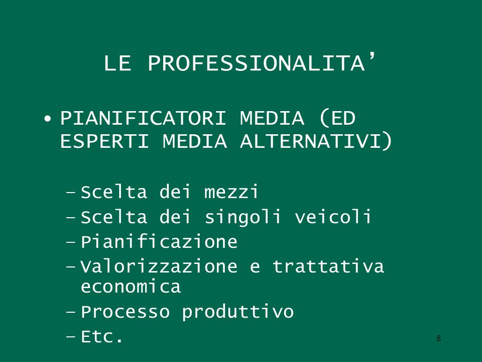 LE PROFESSIONALITA' PIANIFICATORI MEDIA (ED ESPERTI MEDIA ALTERNATIVI)